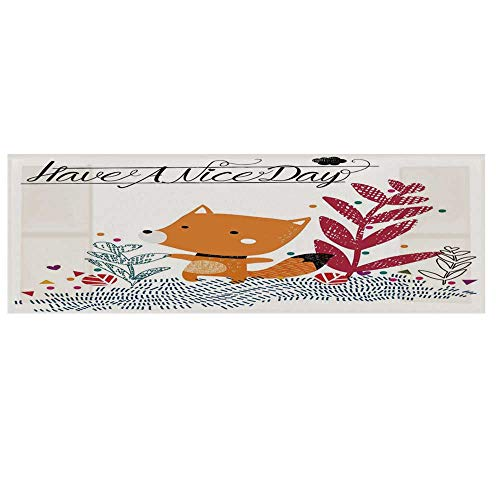 - Fox Cotton & Linen Microwave Oven Protective Cover,Cute Little Fox Character Colorful Geometric Spring Field Have a Nice Day Text Dots Cover for Kitchen,36