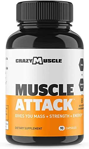 Powerful DHEA Supplement: Muscle Attack is a Testosterone Booster for Men and Women to Increase & Maintain Test Levels and Prevents Side Effects - Bodybuilding Supplements by Crazy Muscle - 90 Tablets