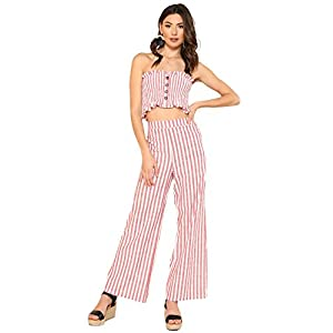 Floerns Women's Strapless Tube Top and Pants Two Piece Set
