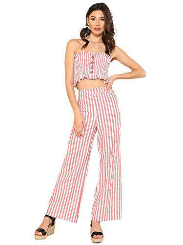 Floerns Women's Strapless Tube Top and Pants Two Piece Set Red White ()