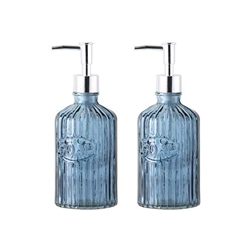 WH Housewares 16-Ounce Round Glass Soap Lotion Dispenser Bottles Plastic Pump/Set of 2 (Dark Blue) ()