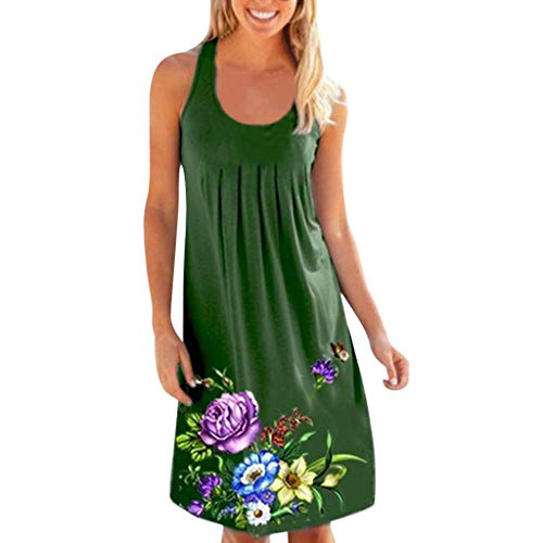 Womens Ladies Casual O-Neck Print Sleeveless Midi Dress Summer Loose Ruched Club Party Camis Dresses Beach Sundress