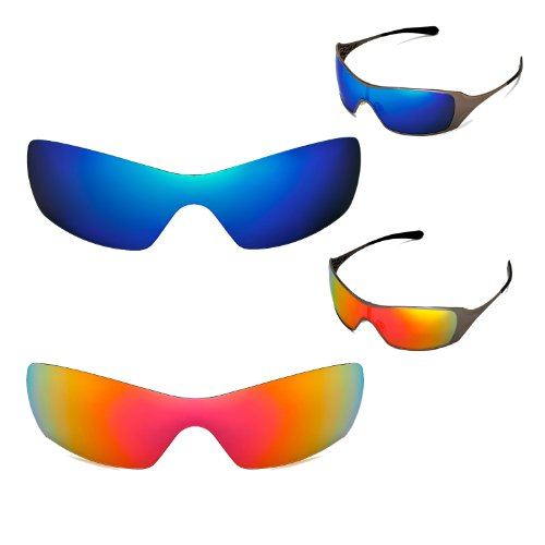 New Walleva Polarized Fire Red+Ice Blue Replacement Lenses For Oakley Dart - Dart Lenses Oakley