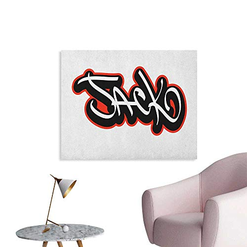 (Anzhutwelve Jack Wall Sticker Decals Graffiti Font Style Male Name Hip hop Design Urban Modern Typography Wall Poster Vermilion Black and White W36)