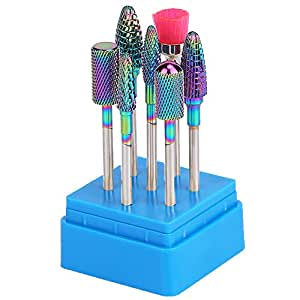 "Ceramic/Tungsten Carbide Nail Drill Bits Set 7Pcs Acrylic Nail File Drill Bit For Nail Electric Drilling Machine Accessory Manicure Pedicure 3/32"" (Tungsten)"