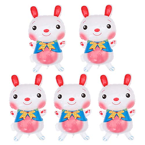 Amosfun Easter Rabbit Foil Balloons Cartoon Bunny for Birthday Easter Party Decor 5pcs