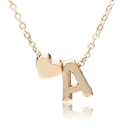 Women Lovers Cute 26 Letters & Heart-Shaped Pendant Necklace Charm Jewelry GoldPlated Nice Gift (A) ()
