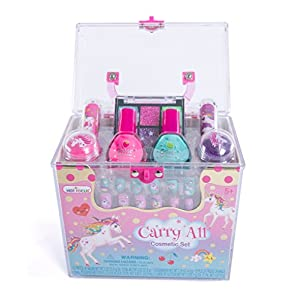 Hot Focus Carry All Cosmetic Set – 20 Piece Unicorn Makeup Set for Girls Includes, Non-Toxic Nail Polish, Press on Nails, Glitter Eyeshadow, Tinted Lip Balms, Glitter and Carrying Case