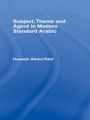 Subject, Theme and Agent in Modern Standard Arabic Pdf