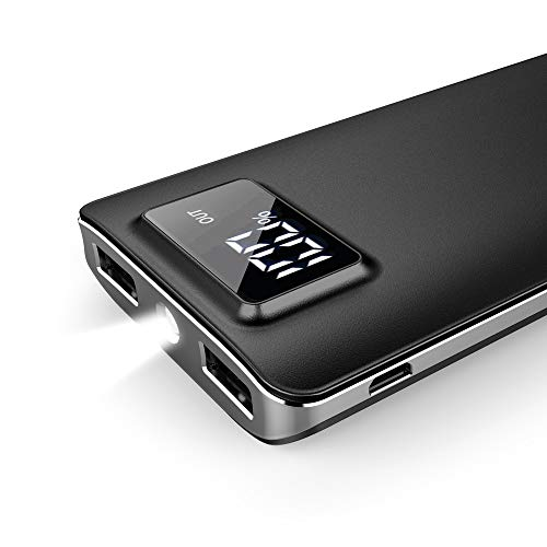 [Upgraded] Uni-Yeap 11000mAh External Battery Charger Power Bank with Safety Charging Conversion System and Ultra Slim with Screen for iPhoneX 8 7 6s 6, iPad, Samsung Galaxy and All Smart phone(Black)