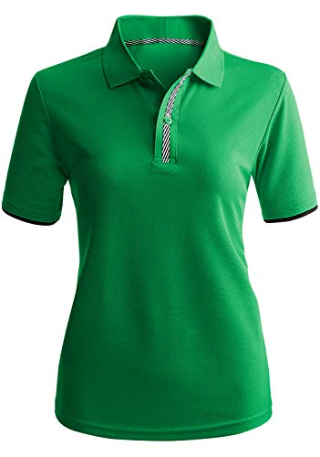CLOVERY Women's Sweat Evaporate Quickly Drying Short Sleeve Polo Shirts Green M