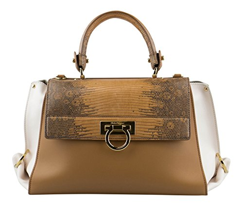 SALVATORE FERRAGAMO Caramel/Sienna Sofia Handbag With Lizard Flap