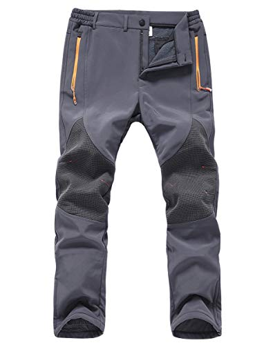 Gash Hao Mens Snow Ski Waterproof Softshell Pants Outdoor Hiking Fleece Lined Zipper Bottom Leg (Grey, 38W x 32L)
