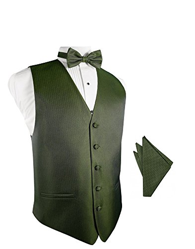 Sage Herringbone Tuxedo Vest with Bowtie & Pocket Square Set ()