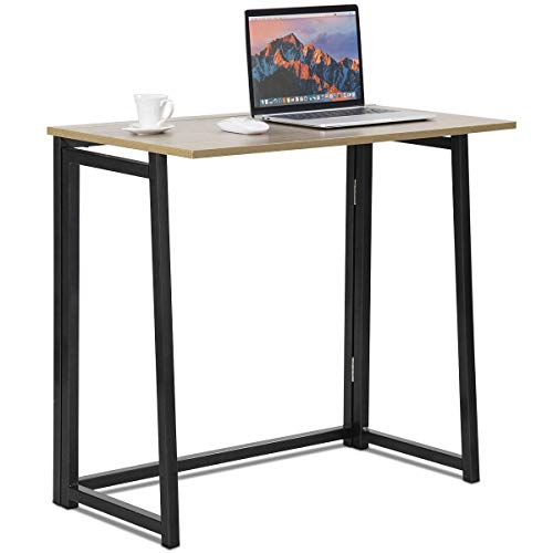 Tangkula Folding Table, Small Foldable Computer Desk, Home Office Laptop Table Writing Desk, Compact Study Reading Table for Small Space, Space Saving Office Table (Natural) ()