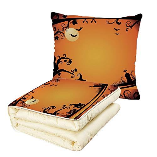 iPrint Quilt Dual-Use Pillow Vintage Halloween Halloween Themed
