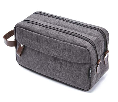 Men's Travel Toiletry Bag Dopp Kit – Dual Compartments with Handle (Taupe Gray)