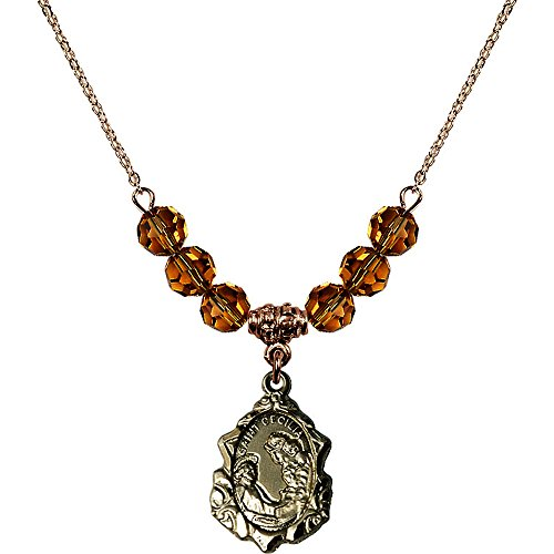18-Inch Hamilton Gold Plated Necklace with 6mm Yellow November Birth Month Stone Beads and Saint Cecilia ()