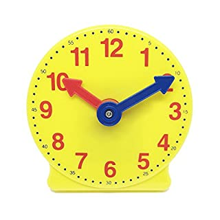 hand2mind 4731 Learning Clock, Learn To Tell Time With Geared Practice Clock, Plastic, 4 Inches