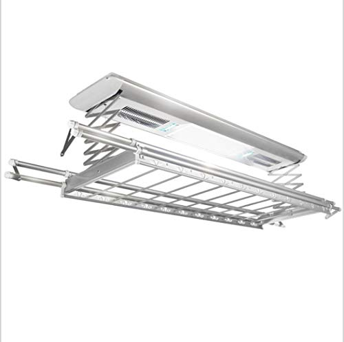 Electrical Drying Rack Ceiling Mounted Clothes Drying Rack with LED Light, Drying Fan, UV Sterilization Remote Control (Color : Silver, Wattage : 110v) by LHFJ (Image #7)
