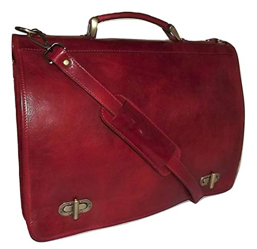 - Baglioni Italia Leather Front Flap Double Gusset Briefcase with Strap Crimson Red