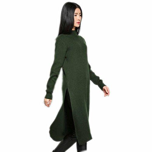 Women Sweater Dress Knitted Cashmere Wool Side Split Mock Neck knnited Winter (Split Neck Sweater Dress)