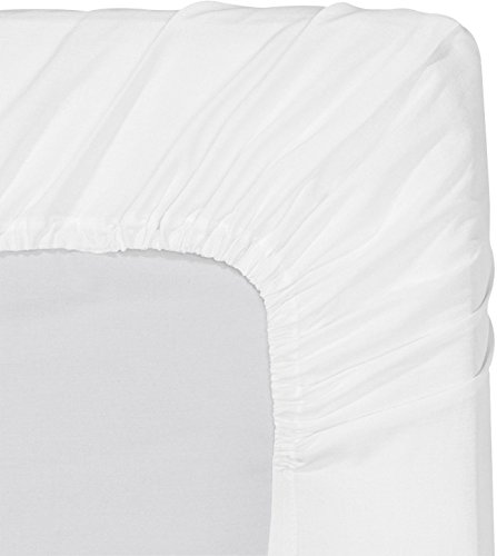 Arihant Bedding 400 Thread Count 100% Percale Cotton Solid White Fitted Sheet with Elastic All Around - Fits Mattress Up to 15'' (King, White)