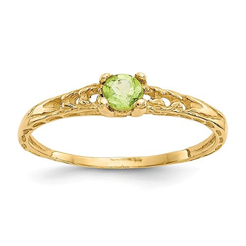 14k Yellow Gold 3mm Green Peridot Birthstone Baby Band Ring Size 3.00 August Fine Jewelry Gifts For Women For Her
