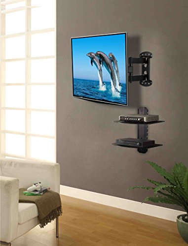 Mounting Dream MD2413-KT Full Motion TV Wall Mount and DVD Floating Shelf  with Two Tier DVD Shelves, TV Mount Fits for Most of 26-55 Inch TVs up to  66 LBS ...