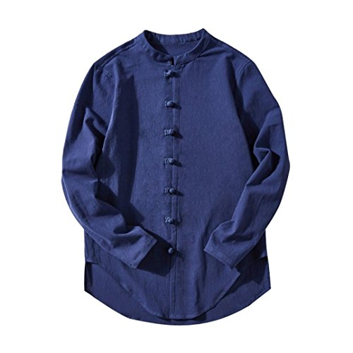 Oksale Men's Casual Tops Summer Long-Sleeve T-Shirt Buton Linen Solid Blouse