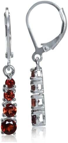 January Birthstone Garnet 925 Sterling Silver Leverback Dangle Earrings