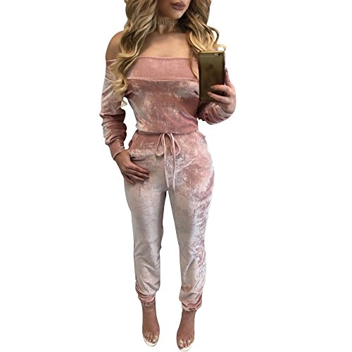 VANCOL Women's Sexy Off Shoulder Long Sleeve Velvet Jumpsuit Rompers (M, Pink)
