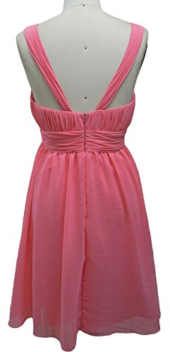 MACloth Women Chiffon Short Bridesmaid Dress V Neck Pleated Wedding Party Gown Blush Pink