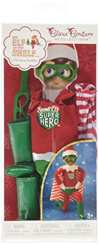 Elf on the Shelf Claus Couture Scout Elf Super Hero Winter Toy Set, Red/Green