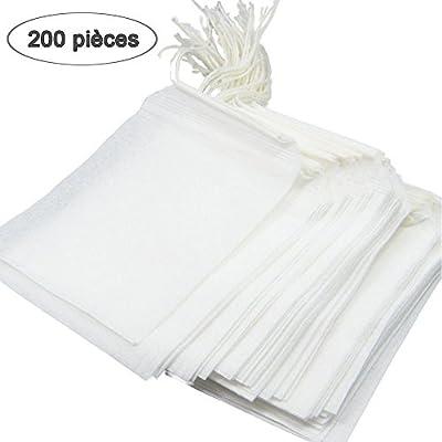 QcoQce – 200 bolsitas de té vacías (7 x 9 cm), sin tejido ...