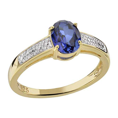 Sterling Silver Two-Tone Created Blue Sapphire & Diamond Accent Ring Sz 7 Blue Sapphire Two Tone Ring