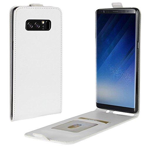 Para Samsung Galaxy Note 8 Caso compacto de piel PU, arriba-abajo piel abierta PU Funda de piel con ranura para tarjeta y función de protección completa con cierre magnético Caja a prueba de golpes po Blanco