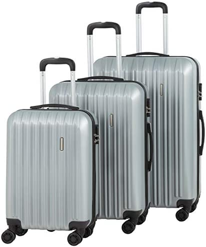 Murtisol Travel 3 Pieces ABS Luggage Sets Hardside Spinner Lightweight Durable Spinner Suitcase 20 24 28 , 3PCS Silver