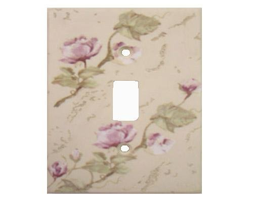 Rose Floral Flowers Rustic Single Switchplate Cover
