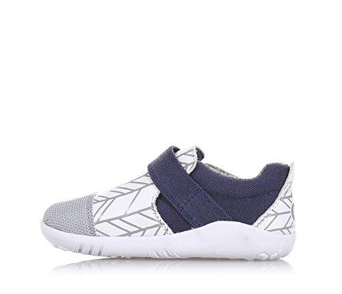 BOBUX - Chaussure I-Walk Aktiv bleue, blanche et grise en tissu et cuir, extrêmement flexible, elle permet une croissance, garçon, garçons