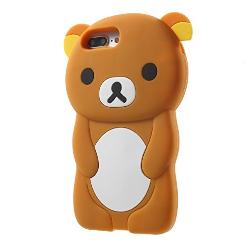 iPhone 7+ PLUS/iPhone 8+ PLUS Case, 3D Brown Teddy Bear Soft Silicone Rubber Cover Protective Skin (I Phone 5c Case Teddy Bear)
