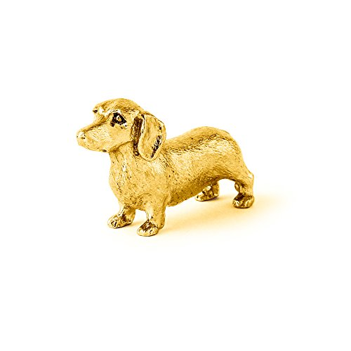 Dachshund Smooth Coat Made in UK Artistic Style Dog Figurine Collection 22ct Gold Plated