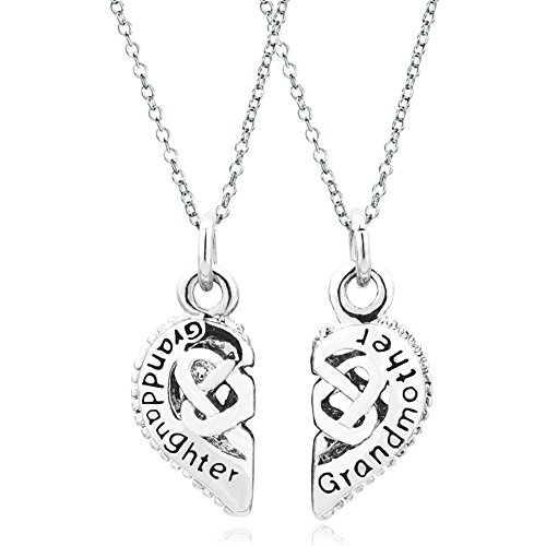 (Q&Locket 2 Part Heart Love Mother Daughter Sister Best Friend Filigree Charm Pendant Necklace (Grandmother Granddaughter))