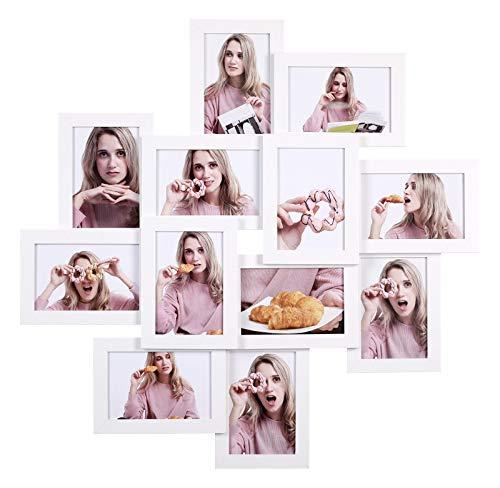 SONGMICS Cadre Photo, Pêle-mêle, Capacité 12 Photos de 10 x 15 cm, Nécessite Assemblage, Vitre en Verre, Blanc RPF22WT