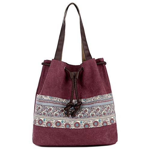 - FDFERRT Canvas Bag Shoulder Bag Cross-Border Explosion Bucket Bag Dual-use Portable Canvas Bag - Gray (Color : Claret, Size : One Size)
