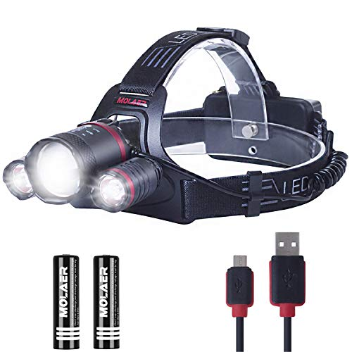 Headlamp, MOLAER LED Rechargeable Light Sense Headlight, 8000-Lumen Brightest Zoomable Head Lamp Flashlight, 5 Lighting Modes and Red Safety Light, IPX5 Waterproof, for Fishing, Hiking, Camping