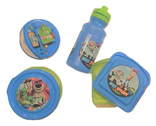 Disney Toy Story 4 Piece Snack Set ~ Sports Bottle, Snack 'N Store, Bread Container, Snack Container (Blue with Woody, Buzz, Alien, Rex)]()