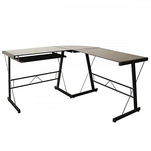 L-Shape Corner Computer Desk Glass Laptop Table Workstation Home Office (Curved Computer Desk)