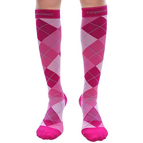 Compression Socks 30-40mmHg (1 Pair - Argyle Pink S) - Best High Performance Athletic Running Socks - Men & Women
