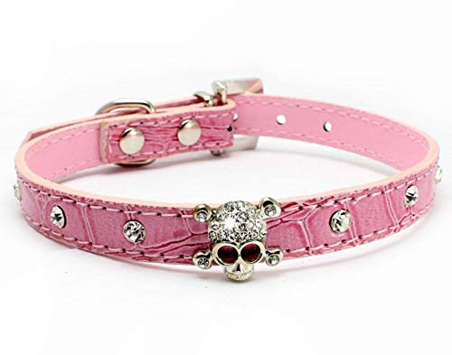 haoyueer Cute Dazzling Sparkling Elegant Fancy Skull Diamond Crystal Rhinestone Leather Small Pet Dog Cat Collar Puppy(Pink,S) ()
